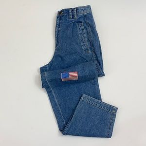 Vintage High Rise Mom Jeans Patches Straight Leg